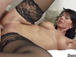 German MILF in Stockings Fuck with Youthfull Teen with Big Dick
