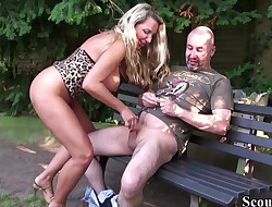 German Fat Tits MILF Seduce Stranger to Fuck in Park